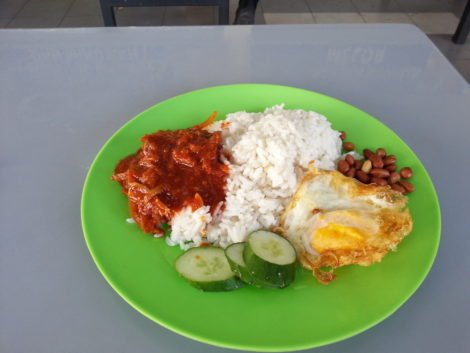 Classic nasi lemak for breakfast