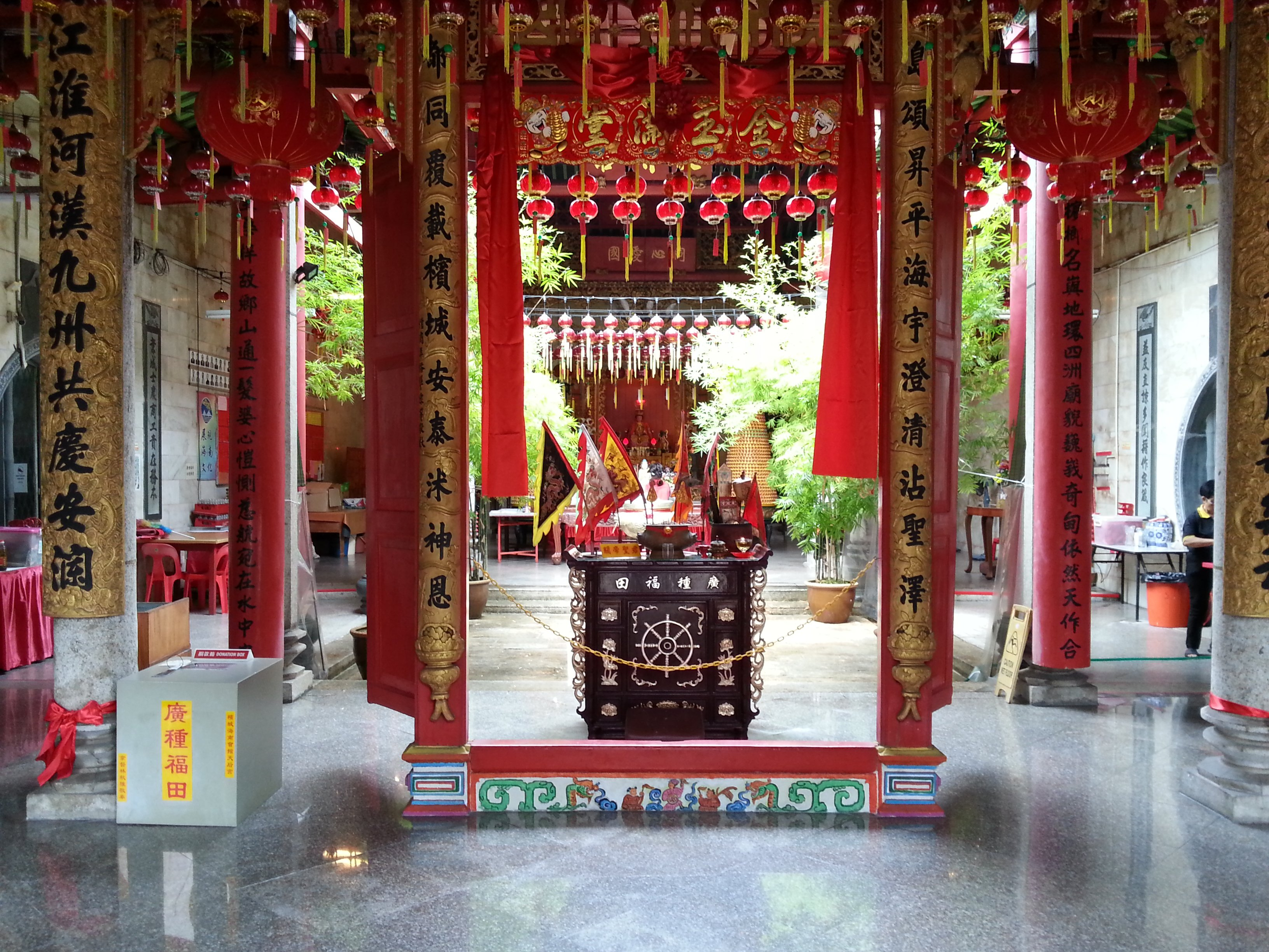 Inside the Hainan Temple on Muntri Street