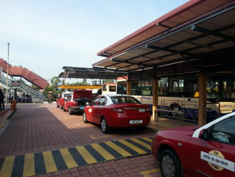 Taxis waiting at the bus station