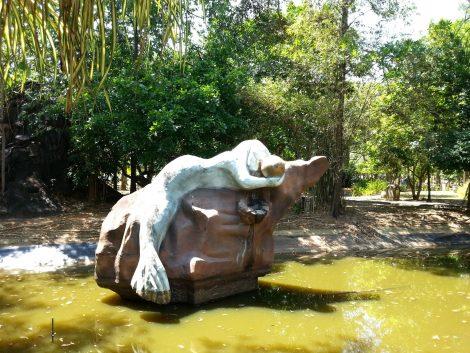 Drowning mermaid sculpture at Legenda Park