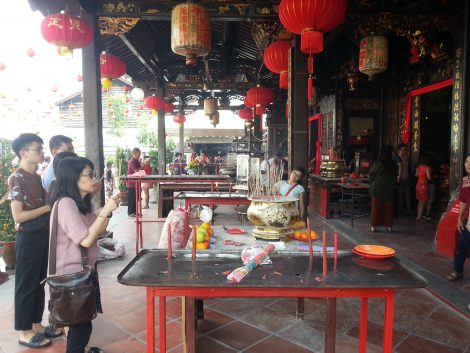 Burning incense at Cheng Hoon Teng Temple