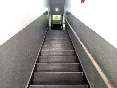 Stairs up to the rooms at the T Hotel