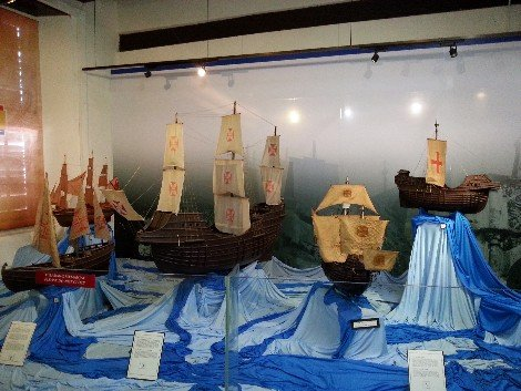 Models of the Portuguese ships that came to Melaka