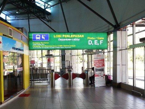 Departure gates at Melaka Sentral Bus Station